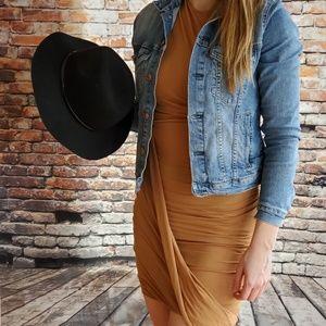 Tan form fitting dress
